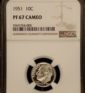 1951 10C NGC PROOF 67 CAMEO       INTENSELY FROSTED GLISTENING BEAUTY