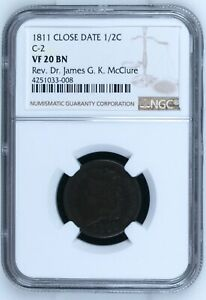 1811 P HALF CENTS CLASSIC HEAD CLOSED DATE NGC VF 20 BN  C 2