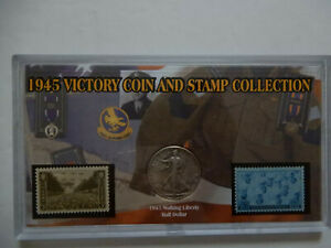 1945 VICTORY COIN AND STAMP COLLECTION  IN CASE