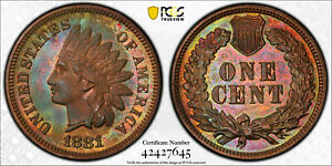 1881 INDIAN HEAD CENT PROOF PCGS PR62RB  AND INSANE NEON TONING