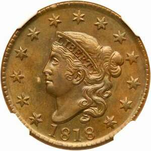 1818 N 6 NGC MS 64 BN MATRON OR CORONET HEAD LARGE CENT COIN 1C