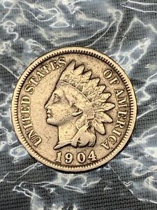 ANTIQUE INDIAN HEAD PENNIES 1902   1904 BOTH NEAR MINT WITH 1902 DIE ERROR ON E