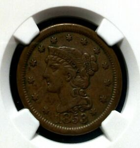 1853 LARGE CENT BRAIDED HAIR NGC XF 40BN  HIGH GRADE COIN WITH GREAT EYE APPEAL