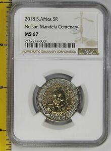 Click now to see the BUY IT NOW Price! 2018 5 RAND SOUTH AFRICA 2018 NGC MS 67  NELSON MANDELA 100TH BIRTHDAY