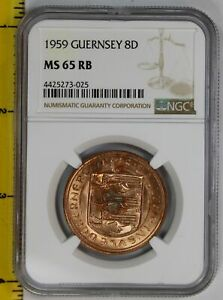 Click now to see the BUY IT NOW Price! 1959 GUERNSEY 8 DOUBLES NGC MS 65 RED/BROWN  RAINBOW SPOT