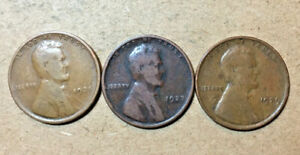 3 ASSORTED PHILADELPHIA MINT LINCOLN WHEAT PENNIES FROM THE 20'S  25 27 29
