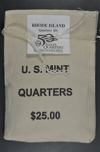 Click now to see the BUY IT NOW Price! 2001 D RHODE ISLAND $25 QUARTER BAG   MINT SEWN  WITH UNOPENED BOX