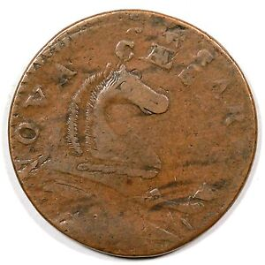 1787 M 46 E DOUBLE STRUCK NEW JERSEY COLONIAL COPPER COIN