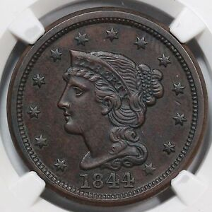 Click now to see the BUY IT NOW Price! 1844 N 2 NGC UNC DETAILS BRAIDED HAIR LARGE CENT COIN 1C