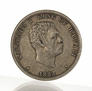 RAW 1883 KINGDOM OF HAWAII 25C SILVER QUARTER UNGRADED UNCERTIFIED COIN