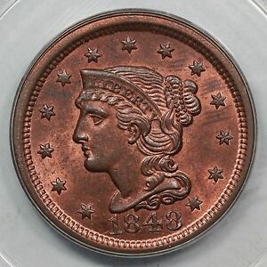 Click now to see the BUY IT NOW Price! 1848 N 21 R 3  PCGS MS 64 RB CAC BRAIDED HAIR LARGE CENT COIN 1C EX; NAFTZGER