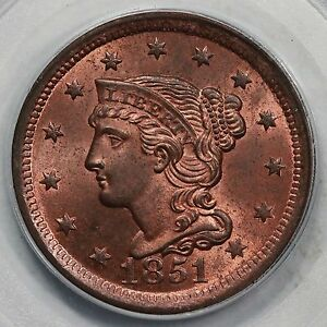 Click now to see the BUY IT NOW Price! 1851 N 14 R 2 PCGS MS 65 RB CC1 BRAIDED HAIR LARGE CENT COIN 1C EX; NAFTZGER