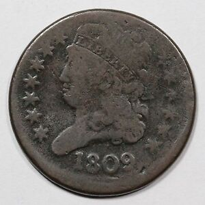 1809 C 4 R 2 LDS STRUCK OFF CENTER CIRCLE IN 0 CLASSIC HEAD HALF CENT COIN 1/2C