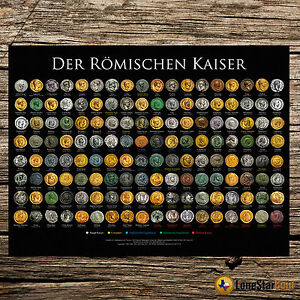 DER RMISCHEN KAISER   COIN WALL POSTER   THE ROMAN EMPERORS GERMAN VERSION