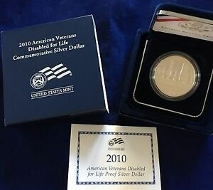 2010 AMERICAN VETERANS DISABLED FOR LIFE $1 COMMEMORATIVE PROOF SILVER DOLLAR