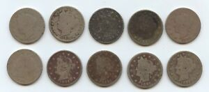 TEN 1891 LIBERTY NICKELS  5903  LOW GRADE COINS. READABLE DATES. CAREFULLY CHEC