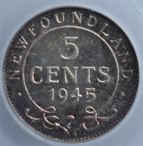 Click now to see the BUY IT NOW Price! 1945C NEWFOUNDLAND FIVE CENTS SILVER CANADA 5 CENTS PCGS MS66. A TRULY SUPERB