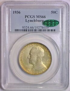 Click now to see the BUY IT NOW Price! 1936 LYNCHBURG SILVER COMMEMORATIVE HALF PCGS MS66 MS 66 GREEN CAC