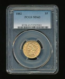 1882 P LIBERTY HEAD GOLD $5 GOLD HALF EAGLE PCGS MS 63 TYPE 2 WITH MOTTO