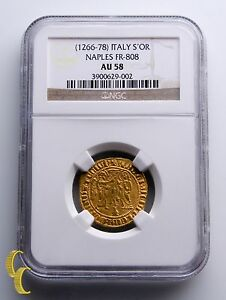 Click now to see the BUY IT NOW Price! 1266 1278 ITALY SALUTO D'ORO CHARLES GOLD COIN NAPLES FR 808 GRADED BY NGC AU58