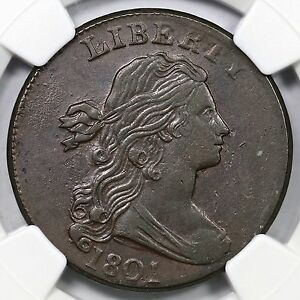 Click now to see the BUY IT NOW Price! 1801 S 214 R 3 NGC AU 50 DRAPED BUST LARGE CENT COIN 1C