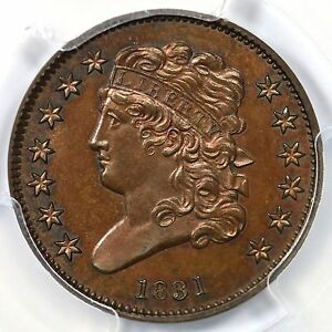 Click now to see the BUY IT NOW Price! 1831 RESTRIKE 1 B R 5  PCGS PR 66 BN CAC CLASSIC HEAD HALF CENT COIN 1/2C