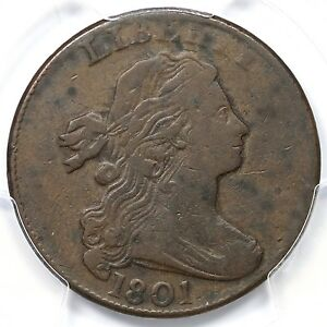 Click now to see the BUY IT NOW Price! 1801 S 219 R 2 PCGS F 15 3 ERRORS REVERSE DRAPED BUST LARGE CENT COIN 1C