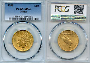 Click now to see the BUY IT NOW Price! 1908 $10 GOLD COIN PCGS MS62 MOTTO