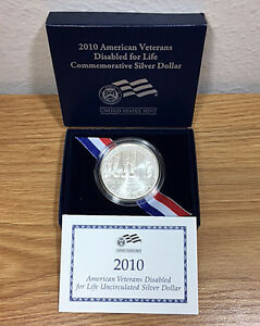 2010 DISABLED AMERICAN VETERANS SILVER $1 UNCIRCULATED UNC   ORIG BOX & COA