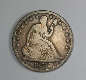 1857 S LIBERTY SEATED HALF DOLLAR U.S. SILVER COIN