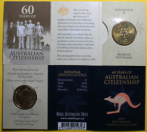 2009 60 YEARS OF AUSTRALIAN CITIZENSHIP   B   BRISBANE PRIVYMARK $1 UNC COIN
