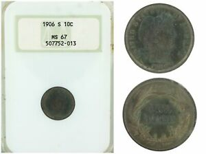 Click now to see the BUY IT NOW Price! US 1906 S 10C NGC MS 67 BARBER DIME 10 CENTS