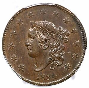 Click now to see the BUY IT NOW Price! 1834 N 5 R 5 PCGS AU 58 CAC MATRON OR CORONET HEAD LARGE CENT COIN 1C