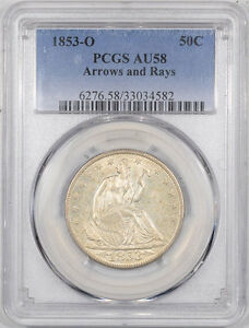 Click now to see the BUY IT NOW Price! 1853 O LIBERTY SEATED HALF DOLLAR   ARROWS AND RAYS PCGS AU 58. THE REEDED EDGE