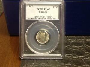 Click now to see the BUY IT NOW Price! 1957 PL67 DIME   PCGS   CAMEO NOT NOTED   BLAST WHITE