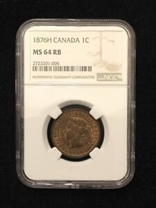 Click now to see the BUY IT NOW Price! 1876H CANADA BRONZE LARGE CENT NGC MS64 RB VICTORIA 1 PENNY
