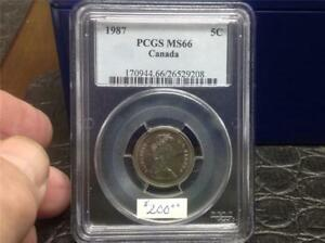 Click now to see the BUY IT NOW Price! 1987   PCGS MS66   5 CENT   POP 3/0   GEM