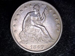 1849 50C LIBERTY SEATED HALF DOLLAR WB 103 REPUNCHED DATE AU   BUSINESS STRIKE