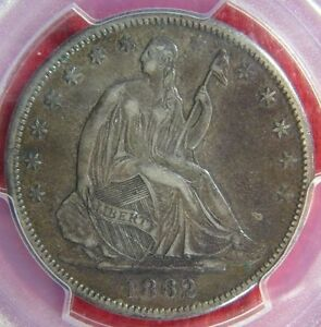 Click now to see the BUY IT NOW Price! 1862 S SEATED LIBERTY HALF DOLLAR PCGS XF 40 CERT 28167852