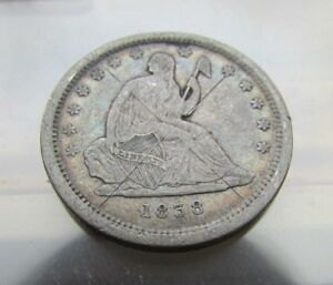 SHARP   AU DETAILS   1838   NO DRAPERY   SEATED LIBERTY QUARTER 25C   1ST YEAR