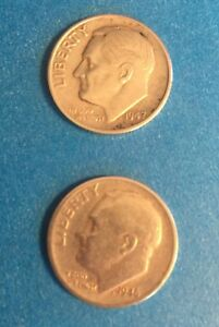 TWO OLD DIMES   ONE EACH 1947 S    ONE EACH 1946 S    ROSEVELT DIMES