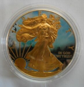 2014 1 OZ AMERICAN SILVER EAGLE BOAT DOCK COIN COLORIZED 24KT GOLD GILDED