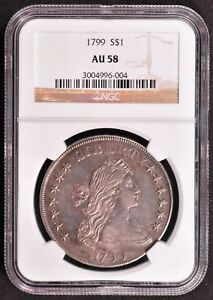 Click now to see the BUY IT NOW Price! 1799 DRAPED BUST LARGE EAGLE SILVER DOLLAR NGC AU58