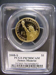 Click now to see the BUY IT NOW Price! 2008 S JAMES MONROE PRESIDENTIAL DOLLAR SIGNATURE PCGS PR 70 DCAM CERT 24948652