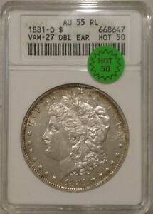 Click now to see the BUY IT NOW Price! 1881 O MORGAN SILVER DOLLAR   ANACS AU 55 PL VAM 27