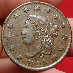 1824 CORONET HEAD LARGE CENT ALMOST UNCIRCULATED N 2 VARIETY BETTER DATE 1C