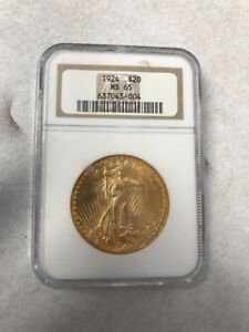 1924 $20 NGC MS65 ST. GAUDENS DOUBLE EAGLE GOLD COIN