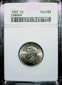 Click now to see the BUY IT NOW Price! 1937 5 CENT CANADA   ANACS MS 66