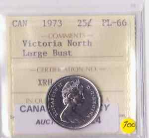Click now to see the BUY IT NOW Price! 1973 CANADA 25C LARGE BUST ICCS PL 66 FROM THE VICTORIA NORTH COLLECTION