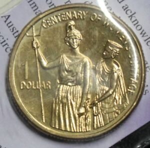 2003 ONE DOLLAR   SUFFRAGETTE DOLLAR UNCIRCULATED COIN   IN ISSUE FOLDER/CARD